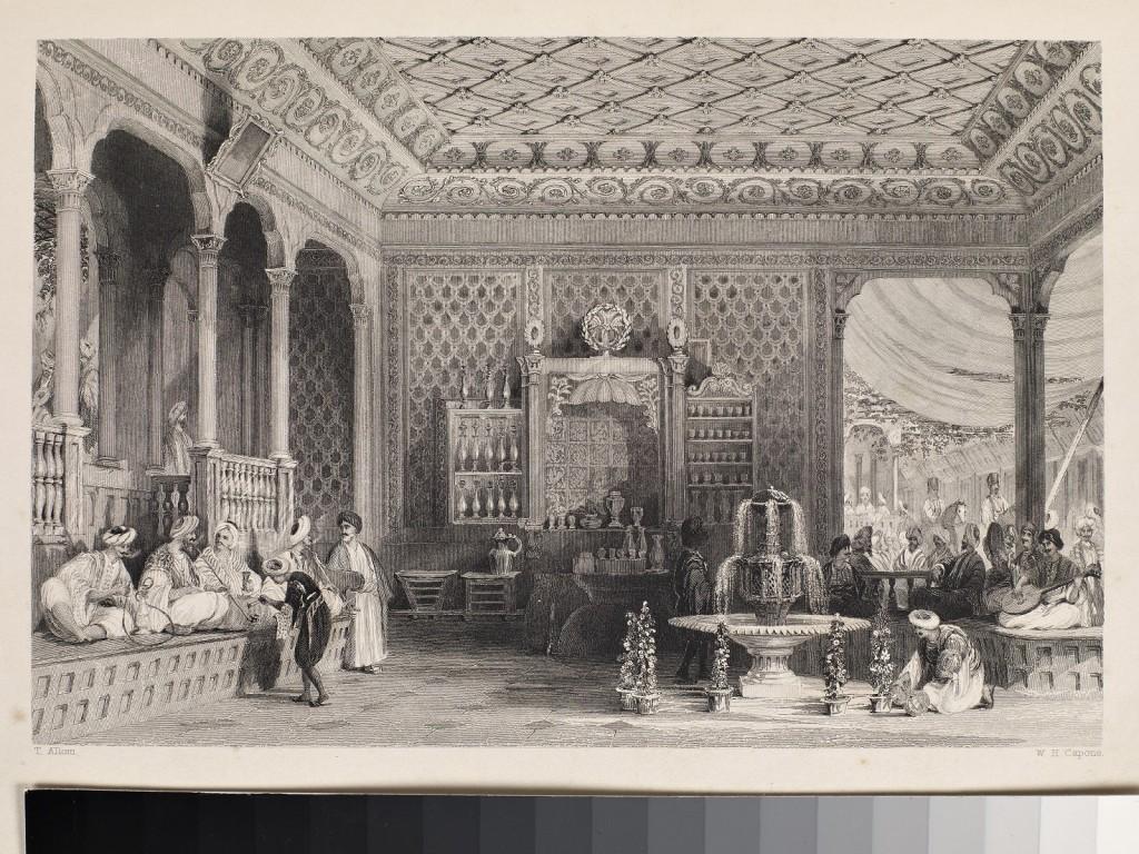 3-19-yüzyılın-ortalarında-İstanbul-da-bir-kahvehanede-lavta-çalan-müzisyen-Thomas Allom-un-gravürü