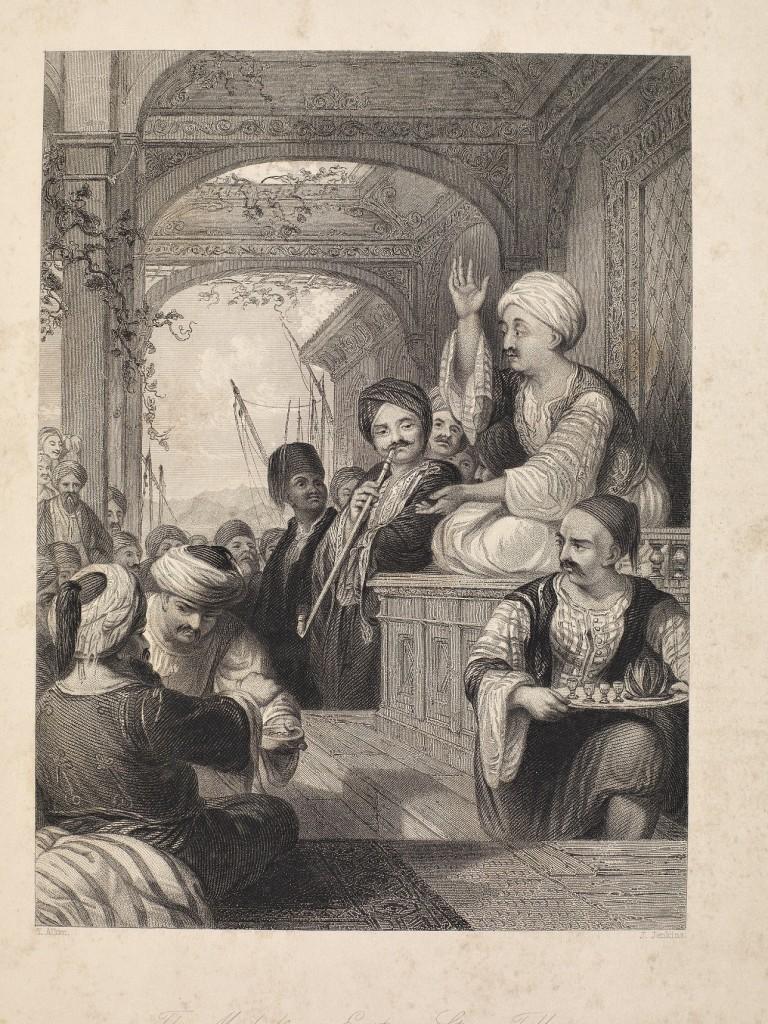 4-19yüzyılın-ortalarında-İstanbulda-kahvehanede-yüksekçe-bir-yere-oturarak-hikayesini-anlatan meddah-Thomas-Allom-un-gravürü